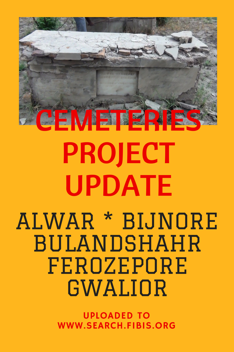 FIBIS Cemeteries Project update – Alwar, Bijnore, Bulandshahr, Ferozepore and Gwalior grave inscriptions uploaded