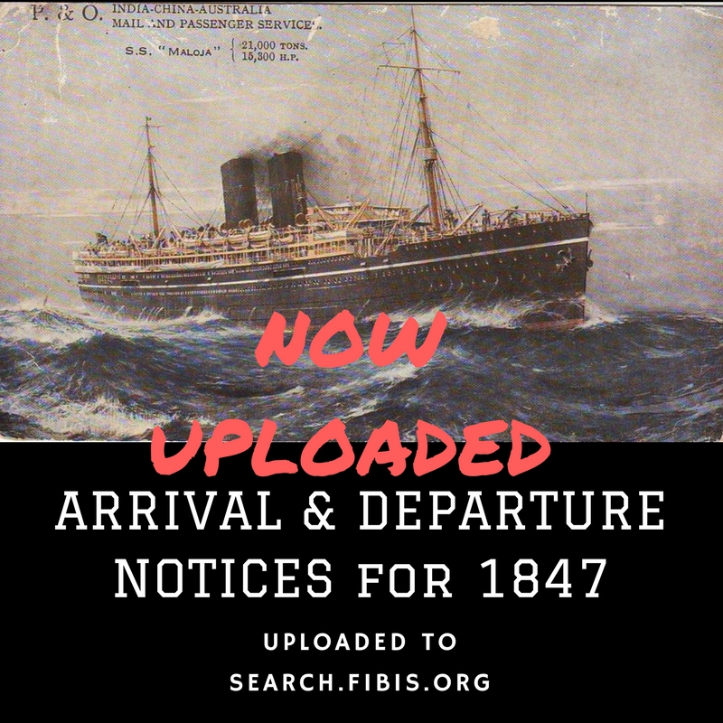 Bombay Times arrival and departure notices 1847